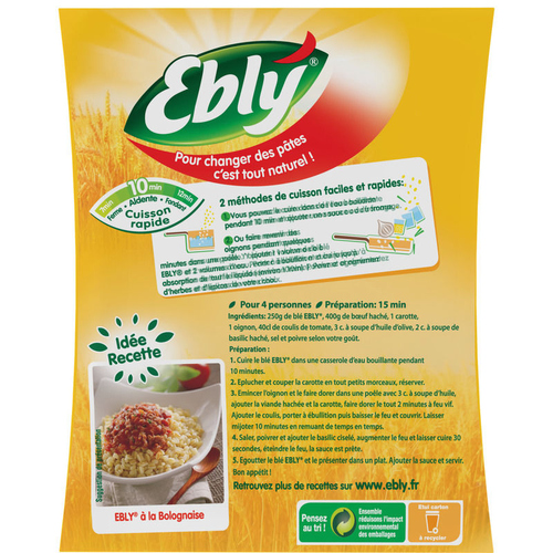 Ebly Blé, cuisson 10 minutes 500g