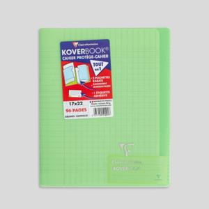 Clairefontaine Cahier 17x22cm, grands carreaux, 96 pages, avec protège-cahier