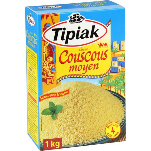 Tipiak Couscous Moyen Prêt en 4min 1Kg