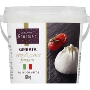 Monoprix Gourmet Burrata coeur de crème fondant, au lait de vache 120g