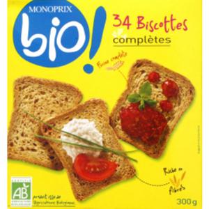 Monoprix Bio Biscottes Complètes 300g
