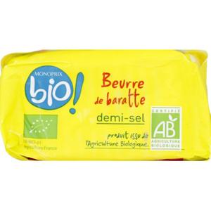Monoprix Bio beurre moule demi-sel 250g
