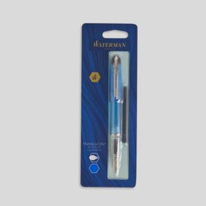 Waterman Stylo-plume translucide + 1 cartouche d'encre longue bleue