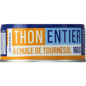 Monoprix Thon Entier à L'Huile de Tournesol 160g