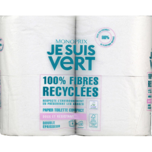 Monoprix Je Suis Vert Papier toilette compact x4