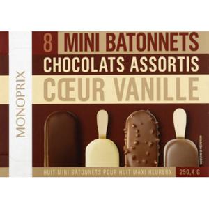 Monoprix Mini bâtonnets chocolats assortis coeur vanille 250,4g