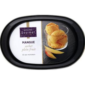 Monoprix Gourmet Sorbet Mangue, plein fruit et ses morceaux 336g
