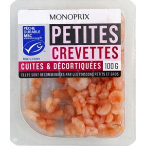 Monoprix Petites crevettes cuites & décortiquées, pêche responsable 100 g