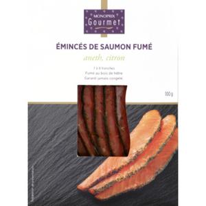 Monoprix gourmet émincés saumon fumé citron aneth 100g