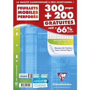 Clairefontaine  feuillets mobiles A4, grands carreaux, 90gr/m²