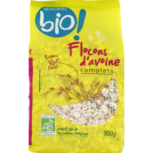 Monoprix Bio Flocons d'avoine complets, bio 500g