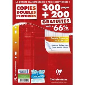 Clairefontaine  copies doubles A4, grands carreaux, 90gr/m²