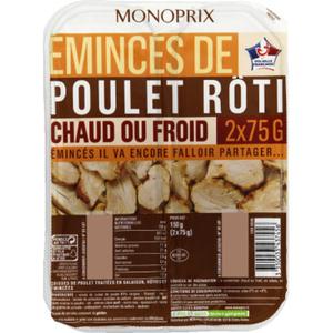 Monoprix Emincés de poulet rôti chaud ou froid 150 g